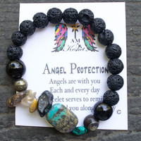 Perfect gift! anxiety jewelry,Turquoise, Bracelet, Lava,Protection Spell, Angel Message,unisex, Husband, boyfriend, Brother, friend, father,