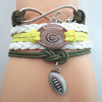 Infinity Love Green Bay Packers Football Bracelet - FREE + Shipping Offer