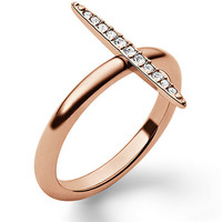 Michael Kors Rose Gold Tone and Crystal Pave Matchstick Ring