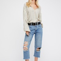 Free People Cropped Ripped Boyfriend Jean