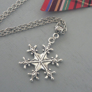 Winter Snowflake Necklace Once Upon A Time  Frozen Inspired Holiday Christmas jewelry Simple Everyday Jewelry
