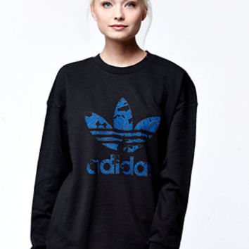 Adidas Blue Floral Crew Neck Sweatshirt from PacSun | sweaters