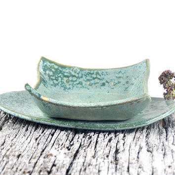 Ceramic Bowl and Plate Set : set of two Square and Oval Handmade Pottery Dappled Green Condiment Dishes
