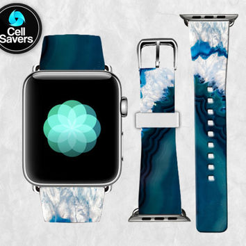 Blue Agate Navy White Crystal Rock Geode Quartz Cute Apple Watch Band Leather Strap iWatch for 42mm and 38mm Size Metal Clasp Watch Print