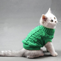 Small Pet Dog Puppy Cat Warm Sweater Winter Apparel Costumes Clothes Knit Coat-Y103