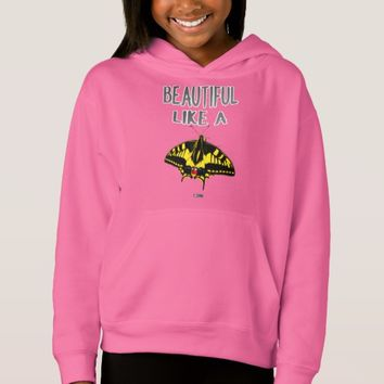 Girls Beautiful Quote Design by Kat Worth Hoodie