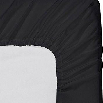 Fitted Sheet (Full - Black) - Deep Pocket Brushed Velvety Microfiber, Breathable, Extra Soft and Comfortable - Wrinkle, Fade, Stain and Abrasion Resistant - by Utopia Bedding