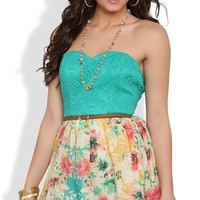 Strapless Dress with Lace Bodice and Floral Chiffon Skirt