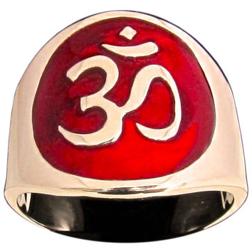 Aum Ring Buddhist Ohm Symbol in Bronze