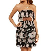 Black/Cream Strapless Belted Short Dress