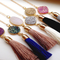 Elena Long Gold Druzy Tassel Necklace
