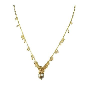 Peach CZ Cluster And Champagne Pearl Necklace