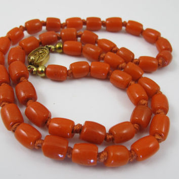Vintage Coral Bead Necklace, Hand Knotted Barrel Shaped Beads, Dark Salmon Bamboo Coral Jewelry, Vintage 1930s Chinese Export Coral
