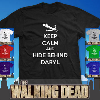 Keep Calm and Hide Behind Daryl Dixon T Shirt  by LOGOPrintCompany