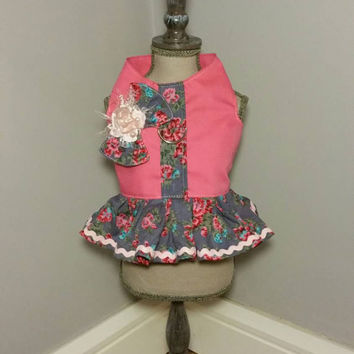 Dog harness vest - handmade pet clothes - girlie dog harness vest with pink rose - girl dog clothes - xsmall dog clothes