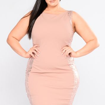 Kiss On The Chic Sequin Party Dress - Blush