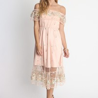 Paris Garden Embroidered Overlay Dress | Ruche