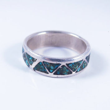 Navajo Ring, Sterling Silver Vintage Turquoise Ring, Native American Ring, Gift for Her, Vintage Turquoise Ring Size 8.75