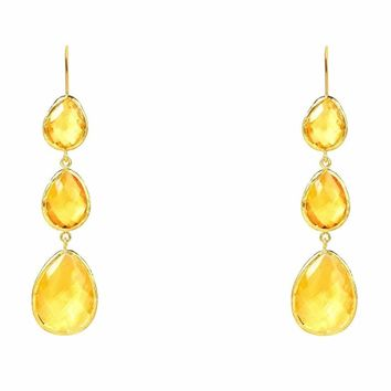 Gold Triple Drop Earring Citrine Hydro