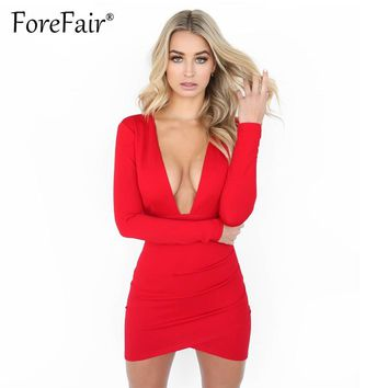 Forefair New Arrival Women Winter Long Sleeve Dress Sexy Deep V Neck Backless Sheath Bodycon Mini Party Dresses Red