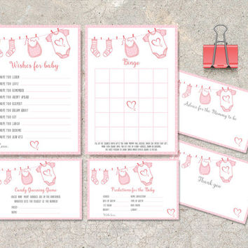 Baby Shower Games, Instant Download - Printable Set of 6: Wishes for baby, Advice, Thank you, Bingo, Predictions and Candy Guessing game