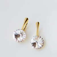 Gold plated sterling silver Swarovski crystal earrings Classic clear crystal gold bridal dangle earrings Lever back crystal earrings