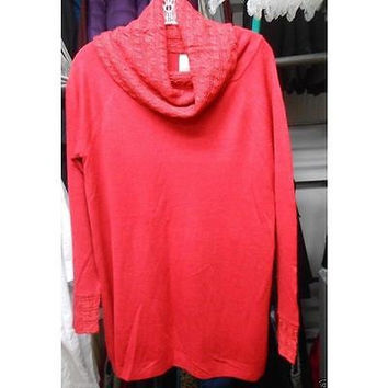 Women's Cowl Neck Sweater, Classic Red Metallic, Large White Stag