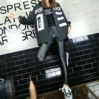adidas fashion casual numeral letter print women long sleeve cardigan buttons shirt tops