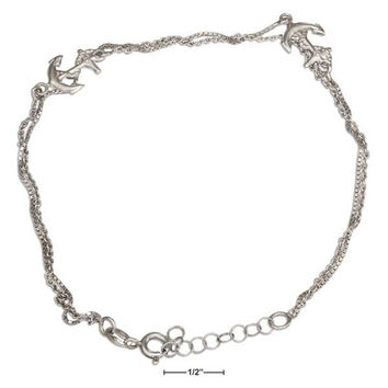 "STERLING SILVER 9""-10"" ADJUSTABLE TWO STRAND ANCHOR ANKLET"