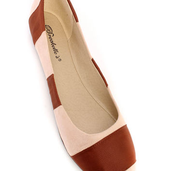 Brown Cute Casual Ballet Flats Multi Fabric