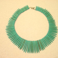 Native American Turquoise Howlite Needle Stick Necklace