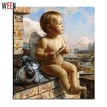 WEEN Angel Painting By Number Wall Art DIY Drawing By Numbers Canvas Painting Unique Child Gift Home Decor 2017 New Poster