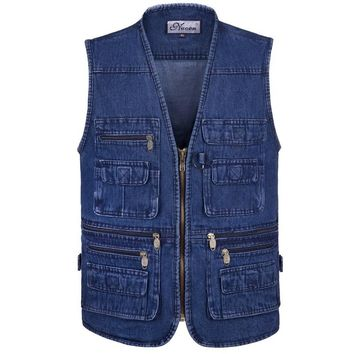 Latest waistcoat designs for men jeans denim vests male with many pockets fashion tactical vest men sleeveless jacket TA662