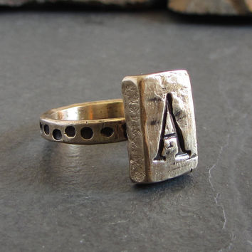 Bronze monogram ring // custom initial ring / personalized ring / unique ring / rustic ring / signet ring / letter ring / rustic jewelry