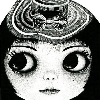 big eye freckle face doll girl straw hat original art print ink black and white