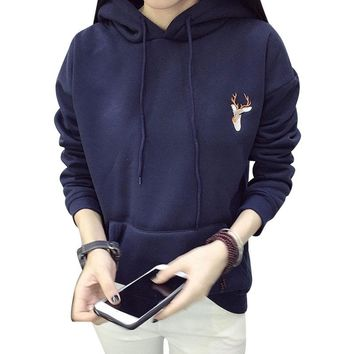 Women Hoodies Sweatshirts 2017 Spring Deer Embroidery Cashmere Thick Pullover Tops Big Pockets Hooded Hoodie Plus Size Sudadera