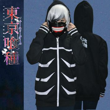 Anime Tokyo Ghoul Mens Black Hooded Zipper Hoodie Kaneki Ken Hoody Cosplay Sweatshirt Hoodies M-XXL