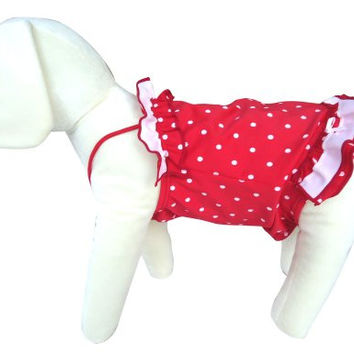 UP Collection Double Tier Bathing Skirt for Dogs, White Polka Dots, Red, Medium