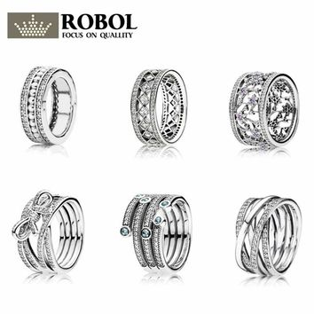 ROBOL 100% 925 Sterling Silver Five Iaps surround Crystal Ring love Ring Wedding For Luxury Women Charm Gift Rings Jewelry