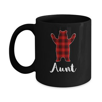 Red Aunt Bear Buffalo Plaid Family Christmas Pajamas Mug