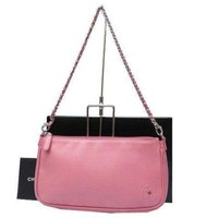 AUTHENTIC CHANEL Leather Chain Bag Pouch Pink Grade AB USED -CJ