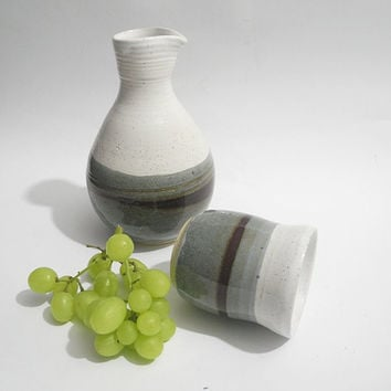 Ceramic Carafe and Beaker, Bedside Water Carafe and Drinking Cup, Handmade Pottery in Grey and White