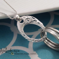 AloraLocks THE ORIGINAL Oval Lattice Filigree Wedding Ring or Charm Holder Holding Pendant Necklace Sterling Silver