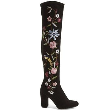 ONETOW MIA Serena - Black Stretch Microsuede Floral Embroidered Over-The-Knee Boot