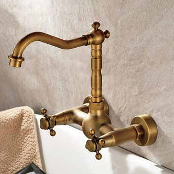 Bathroom Wall Antique Copper Hanging Type Basin Wash Of Cold Hot Water Double Style Faucet Round Base