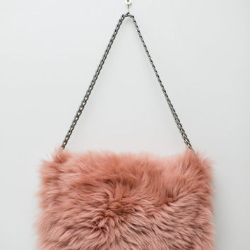 Folded Fur Clutch Bag / Lambskin Shoulder Bag / Dusty Pink / Dark Silver Tone Chain Shoulder Strap