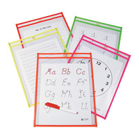 Neon Reusable Dry-Erase Pocket - Set of 100