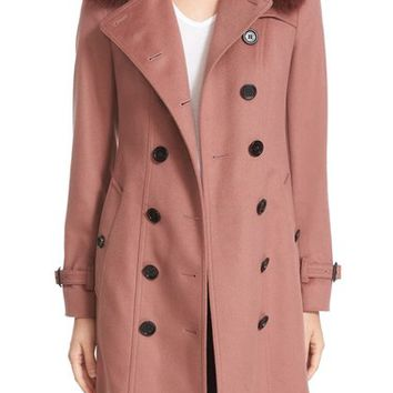 Burberry 'Sandringham' Wool & Cashmere Trench Coat with Genuine Fox Fur Trim | Nordstrom