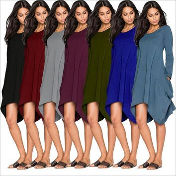 Plus Size Long Sleeves Autumn Woman O-Neck Pockets Irregular Dress