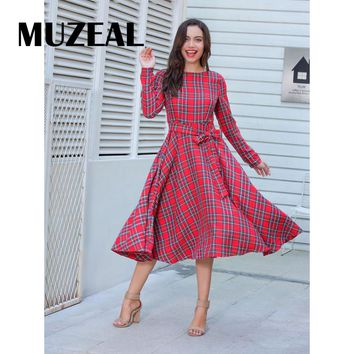 Autumn Checker Long Sleeve Midi Dress Waist Sashes Elegant Lady Party Office Work Casual Waist Ties Retro Plaid Swing Dress 630